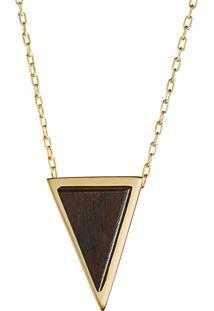 Pingente Wooden Design Triangular Pequeno Em Prata 925 - Madeira E Dourado