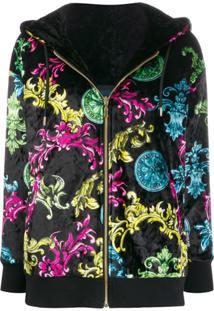 Versace Jeans Couture Baroque-Print Velvet Jacket - Preto