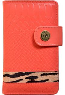 Carteira Animal Print Artlux - Feminino-Coral