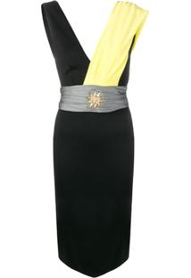 Fausto Puglisi Sash Sun Fitted Dress - Preto