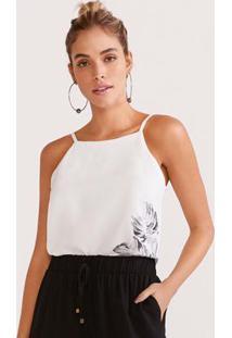 Blusa Tecido Com Alcas Estampada Off White