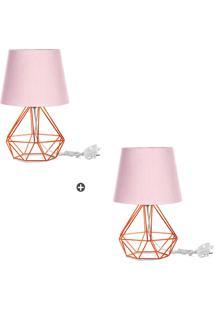 Kit 2 Abajur Diamante Dome Rosa Com Aramado Cobre - Tricae