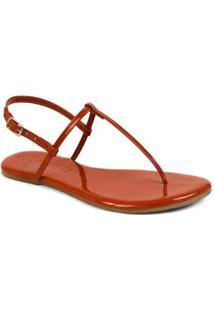 Sandália Mercedita Shoes Flat Básica Verniz Feminina - Feminino-Vermelho