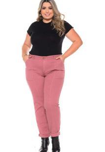 Calça Cropped Almaria Plus Size Fact Sarja Rosa