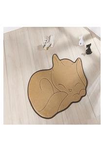 Tapete Formato Feltro Antiderrapante Gato Soneca Bege