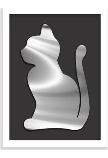 Quadro Decorativo Em Relevo Espelhado Gato Prateado Branco - Médio