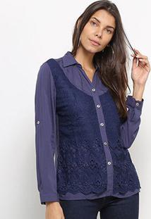 Camisa Heli Manga Longa Guipir Feminina - Feminino-Azul