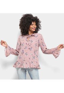 Blusa Lily Fashion Babado Estampada Laço Manga Longa Feminina - Feminino-Rosa