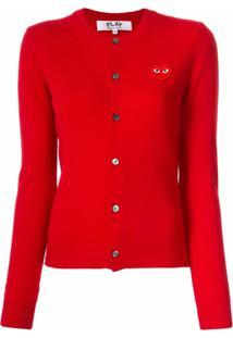 Comme Des Garçons Play Cardigan Com Logo Bordado E Abotoamento - Vermelho