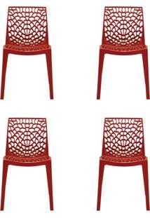Conjunto De 4 Cadeiras Gruv Vermelha
