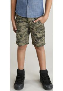 Bermuda Color Infantil Reta Estampada Camuflada Verde Militar