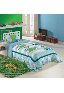 Edredom Dino Solteiro- Azul Claro & Verde- 150X210Cmlepper