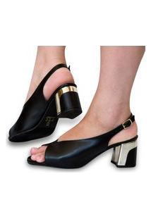 Sandália Feminina Salto Bico Redondo Sapato Scarpin Conforto Preto Eleganteria