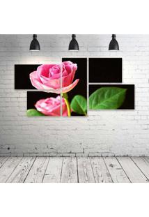 Quadro Decorativo - Pink-Rose - Composto De 5 Quadros