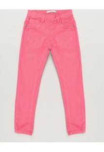 Calça Color Infantil Jegging Com Bolsos Rosa