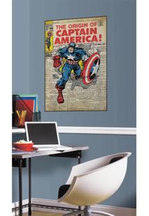 Adesivos De Parade Roommates Colorido Captain America Comic Cover Giant Wall Decal Bege