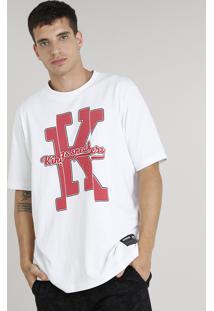 Camiseta Masculina Kings Sneakers Manga Curta Gola Careca Branca