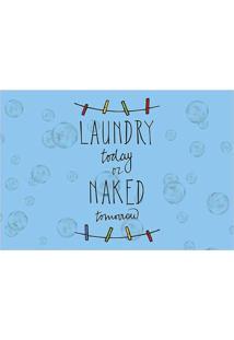"Tapete Transfer ""Laundry Today""- Azul & Preto- 60X40Tapetes Junior"