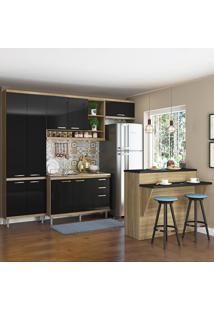 Cozinha Compacta 11 Portas 3 Gavetas Sem Tampo Com Bancada 5845 Preto/Argila - Multimóveis