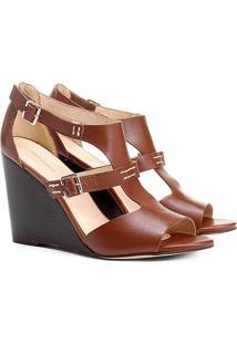Sandália Anabela Couro Shoestock Fachete Feminina - Feminino-Marrom