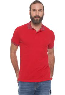 Camisa Polo Colcci Reta Mescla Vermelha