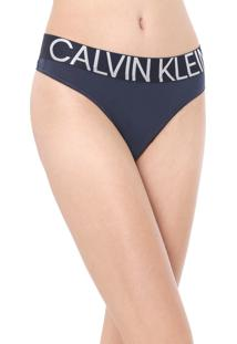 Calcinha Calvin Klein Underwear Fio Dental Statement Azul-Marinho