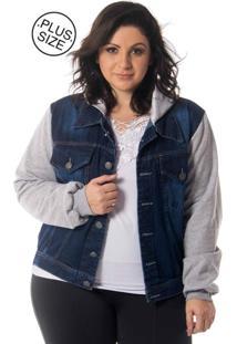 Jaqueta Feminina Jeans Moletom Com Capuz Plus Size