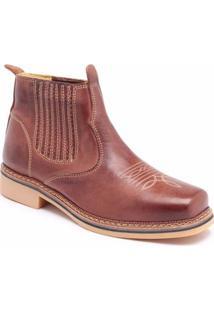 Bota Couro D&R Shoes Masculina - Masculino-Café