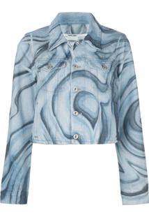 Off-White Jaqueta Jeans Cropped Com Estampa Psicodélica - Azul