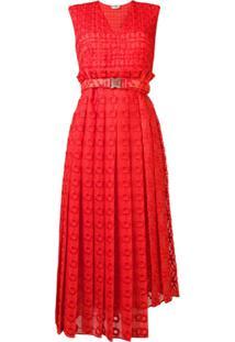 Fendi Vestido Texturizado Com Cinto - Laranja