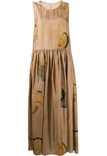 Uma Wang Vestido Com Pregas E Estampa - Neutro