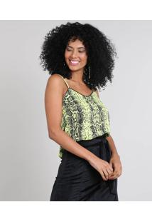 Regata Feminina Estampada Animal Print Verde Neon