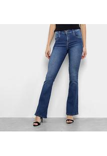 Calça Jeans Flare Morena Rosa Estonada Cintura Média Feminina - Feminino-Azul