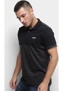 Camisa Polo Fatal Listrada Masculina - Masculino-Cinza+Preto