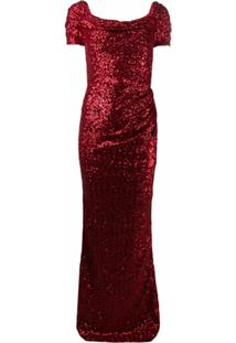 Dolce & Gabbana Vestido Franzido Com Paetês - R0384 Red