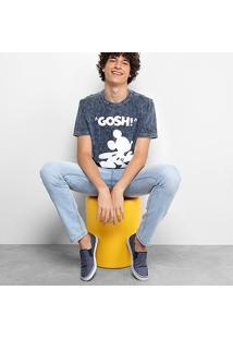 Camiseta Disney Marmorizada Com Silk Masculina - Masculino