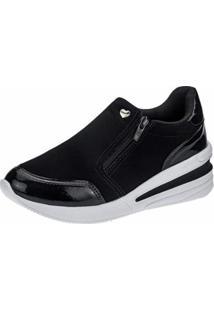Tênis Sneaker Gigil Zíper Anabela Feminino - Feminino-Preto