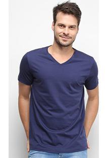 Camiseta Forum Gola V Masculina - Masculino-Azul Escuro