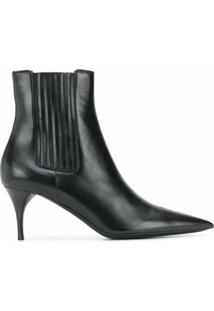 Saint Laurent Ankle Boot Lexi Com Salto 65Mm - Preto