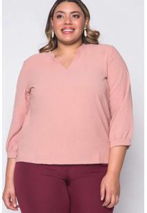 Blusa Almaria Plus Size Melonica Lisa Rosa