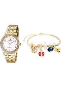 Relógio Feminino Champion Analógico Cn28982W Com Acessório - Feminino-Dourado