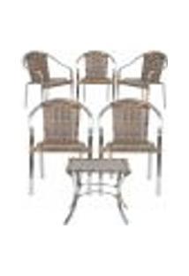 Jogo Cadeiras 5Un E Mesa De Centro Pinheiro Para Edicula Jardim Area Varanda Descanso - Argila
