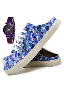 Tênis Mule Sapatênis Casual Fashion Com Relógio Luxury Feminino Dubuy 313El Azul