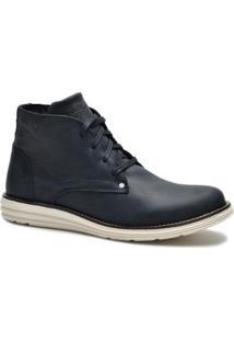 Bota Couro Tchwm Shoes Cano Medio Social Masculina - Masculino-Preto