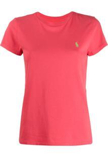 Polo Ralph Lauren Camiseta Com Bordado De Logo - Rosa