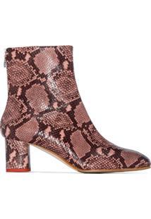 Aeyde Ankle Boot Com Efeito Pele De Cobra - Rosa