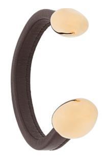 Bottega Veneta Bracelete De Couro Com Acabamento Metálico - Marrom