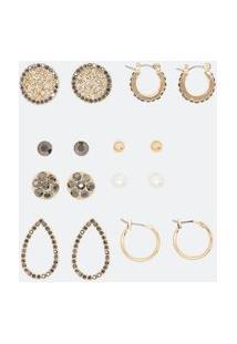 Kit 8 Brincos Pequenos Diversificados | Accessories | Dourado | U