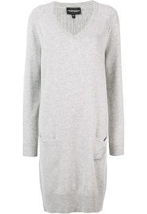 Emporio Armani Vestido Longo De Tricô - Cinza
