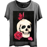 Camiseta Estonada Skull Lab Caveira Flores Grafite fd44beef6e7